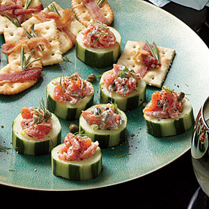 Smoked Salmon Salad in Cucumber Cups