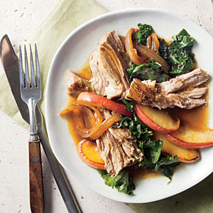 Smothered Vineger Pork Shoulder with Apples and Kale