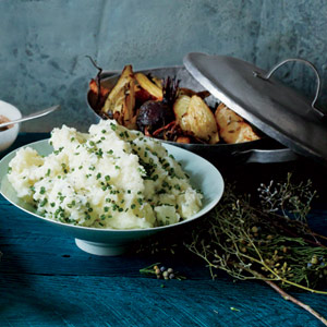 Serve with Smashed Potatoes with Goat Cheese and Roasted Winter Veggies