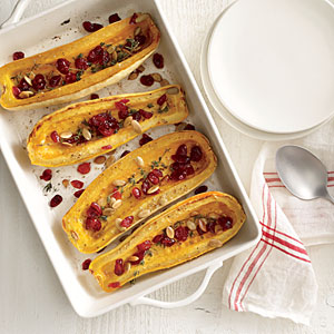 Roasted Delicata with Cranberries and Pumpkinseeds