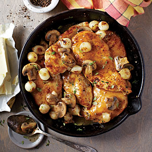 Chicken Cutlets with Mushrooms and Pearl Onions