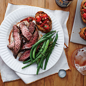 Flank Steak with Tomato Bruschetta