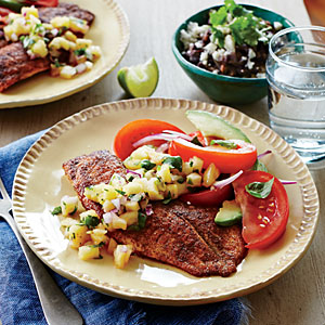 Tilapia with Pineapple Salsa and Tomato-Avocado Salad