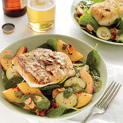 Halibut and Peach Salad with Lemon-Mint Vinaigrette - Quick and Easy Salad Recipes - Cooking Light