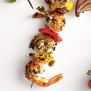 Pesto Shrimp Kebabs