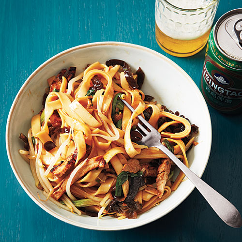 chinese wide noodles with barbecue pork and dried mushrooms recipe