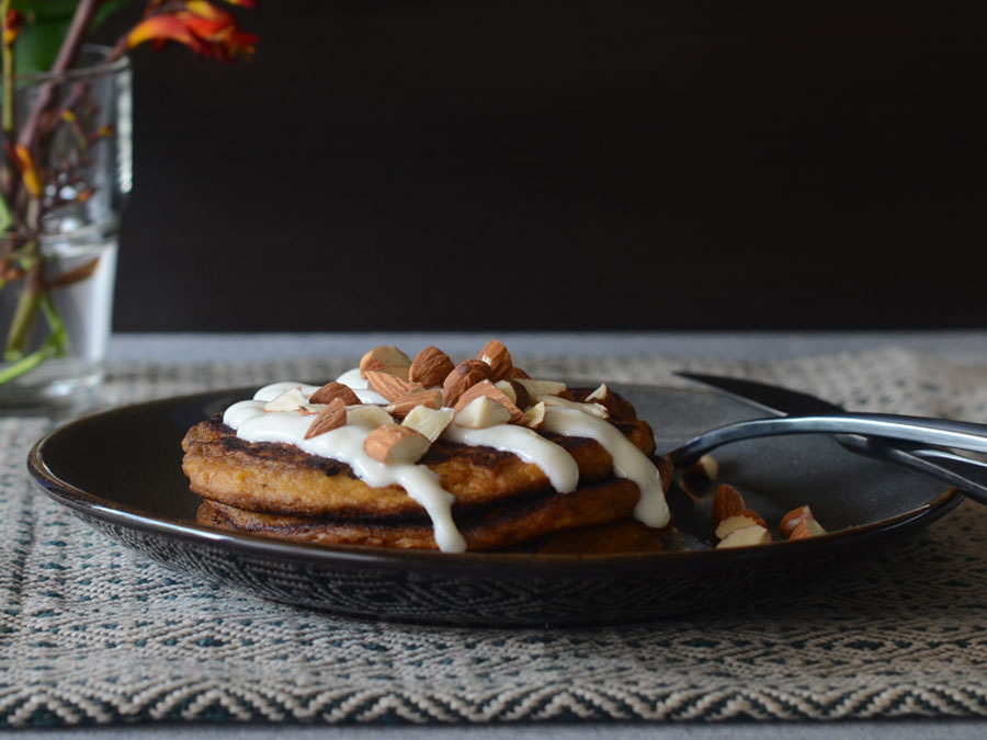 Sweet Potato Casserole 'Pancakes' with Maple Glaze
