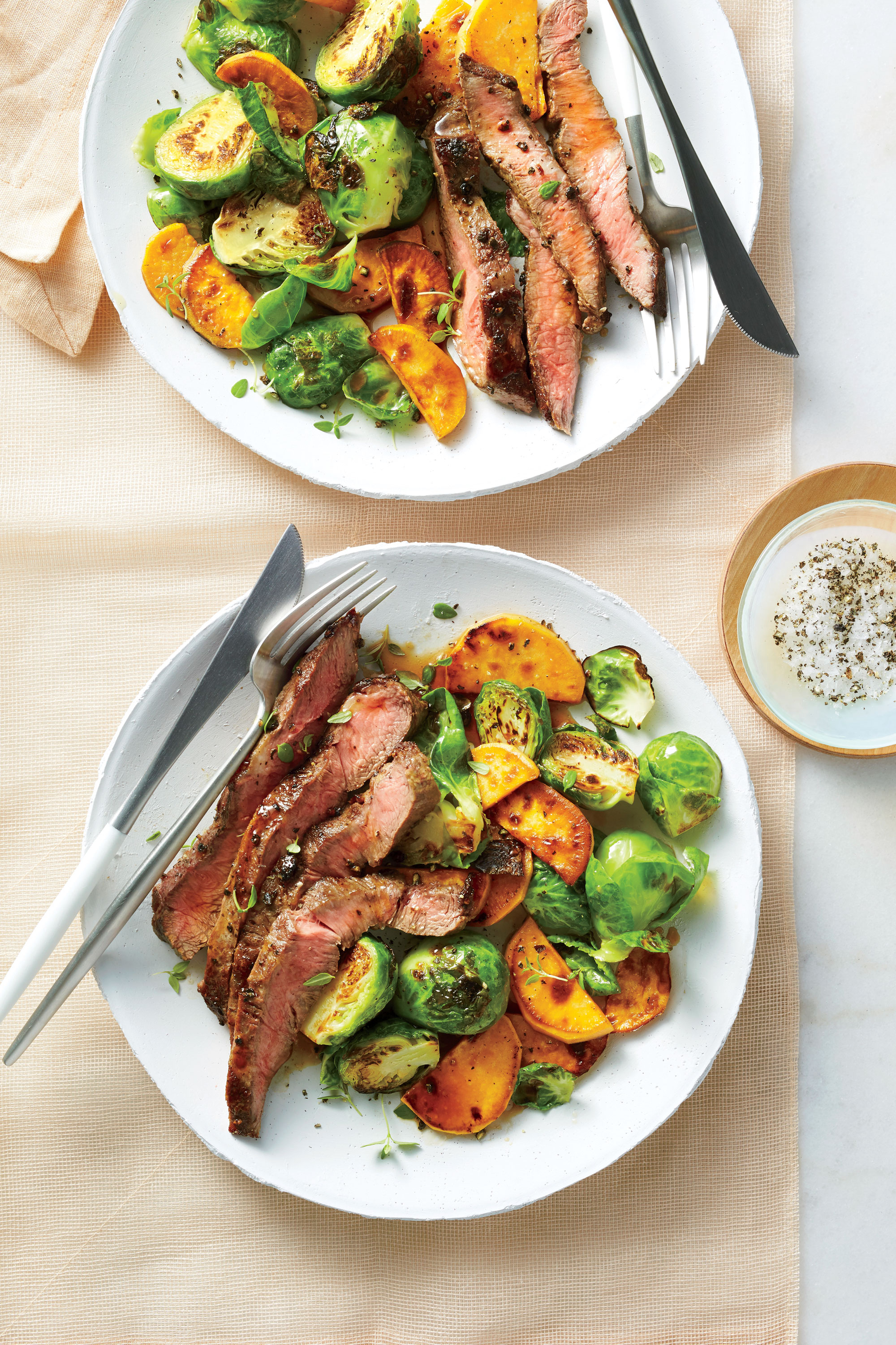 Broiled Flat Iron Steak With Brussels Sprouts And Sweet
