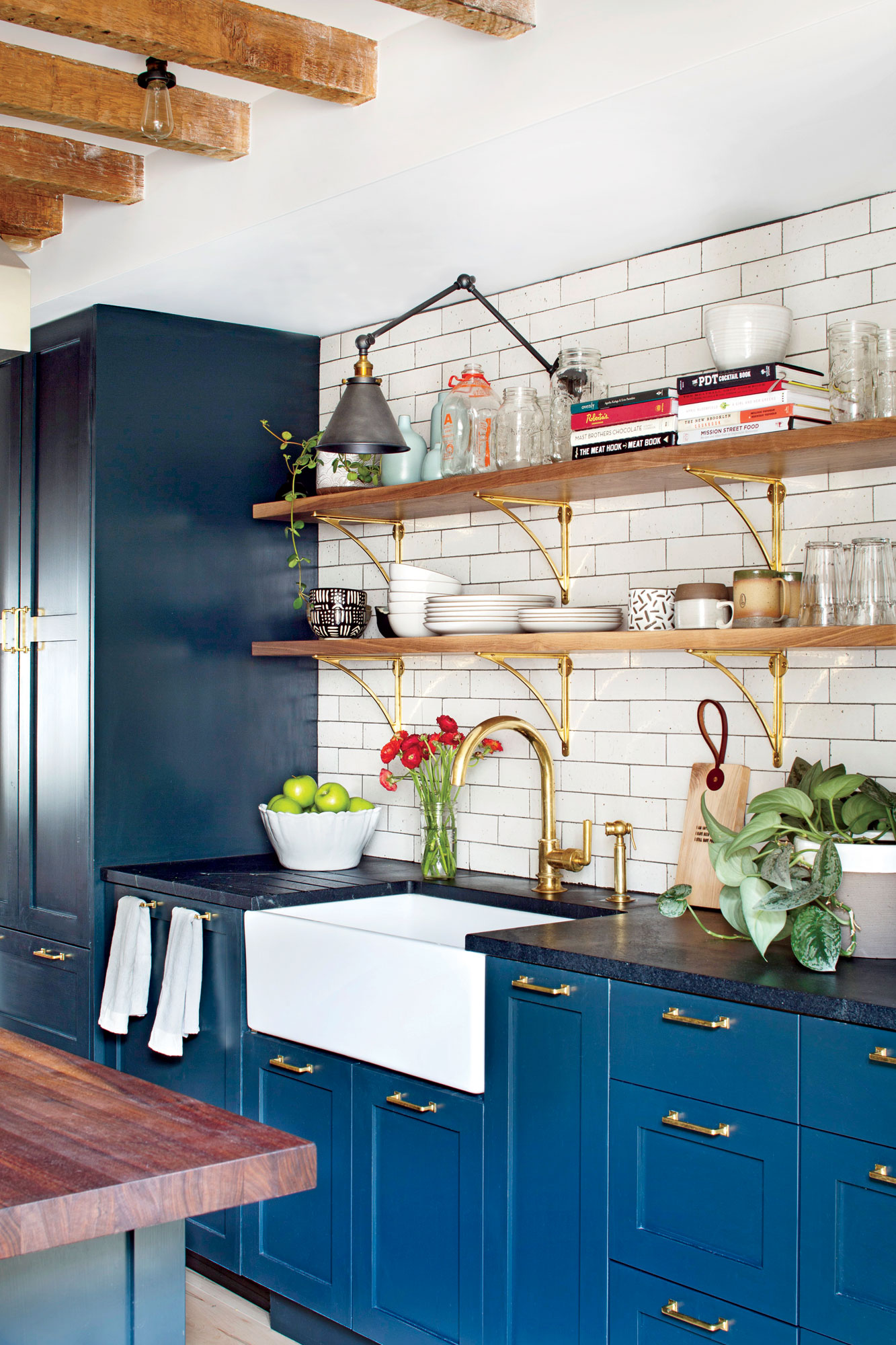White Kitchen with Blue Cabinets