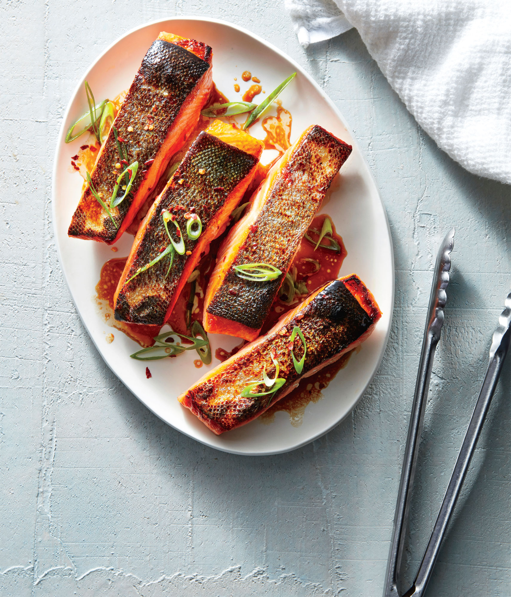 Crispy Salmon Fillets with Sesame-Soy Drizzle