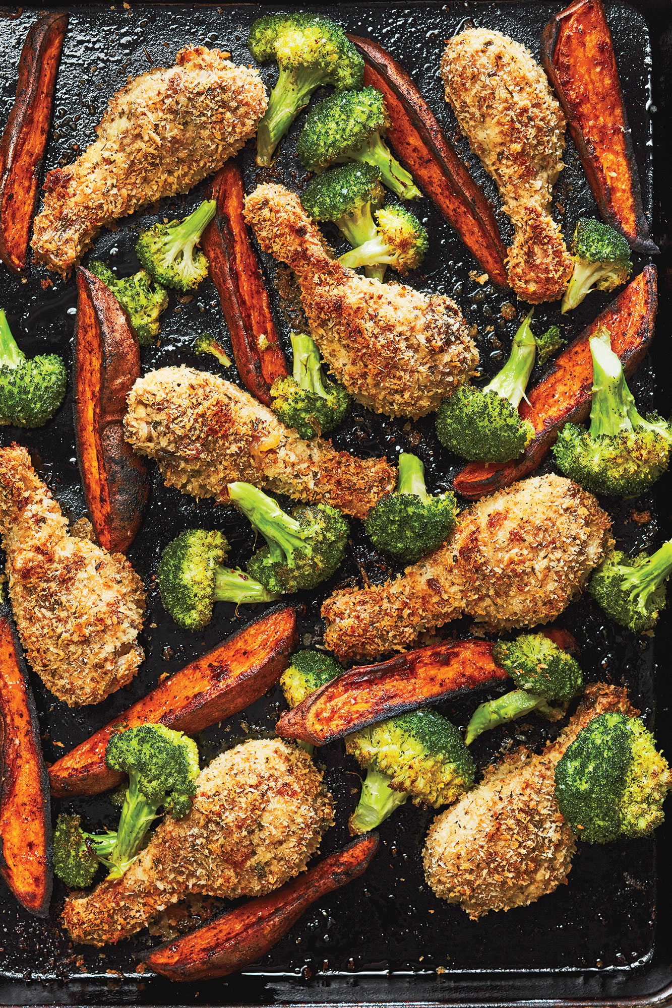 "Sheet Pan Parmesan ""Fried"" Chicken with Broccoli and Sweet Potato Wedges"