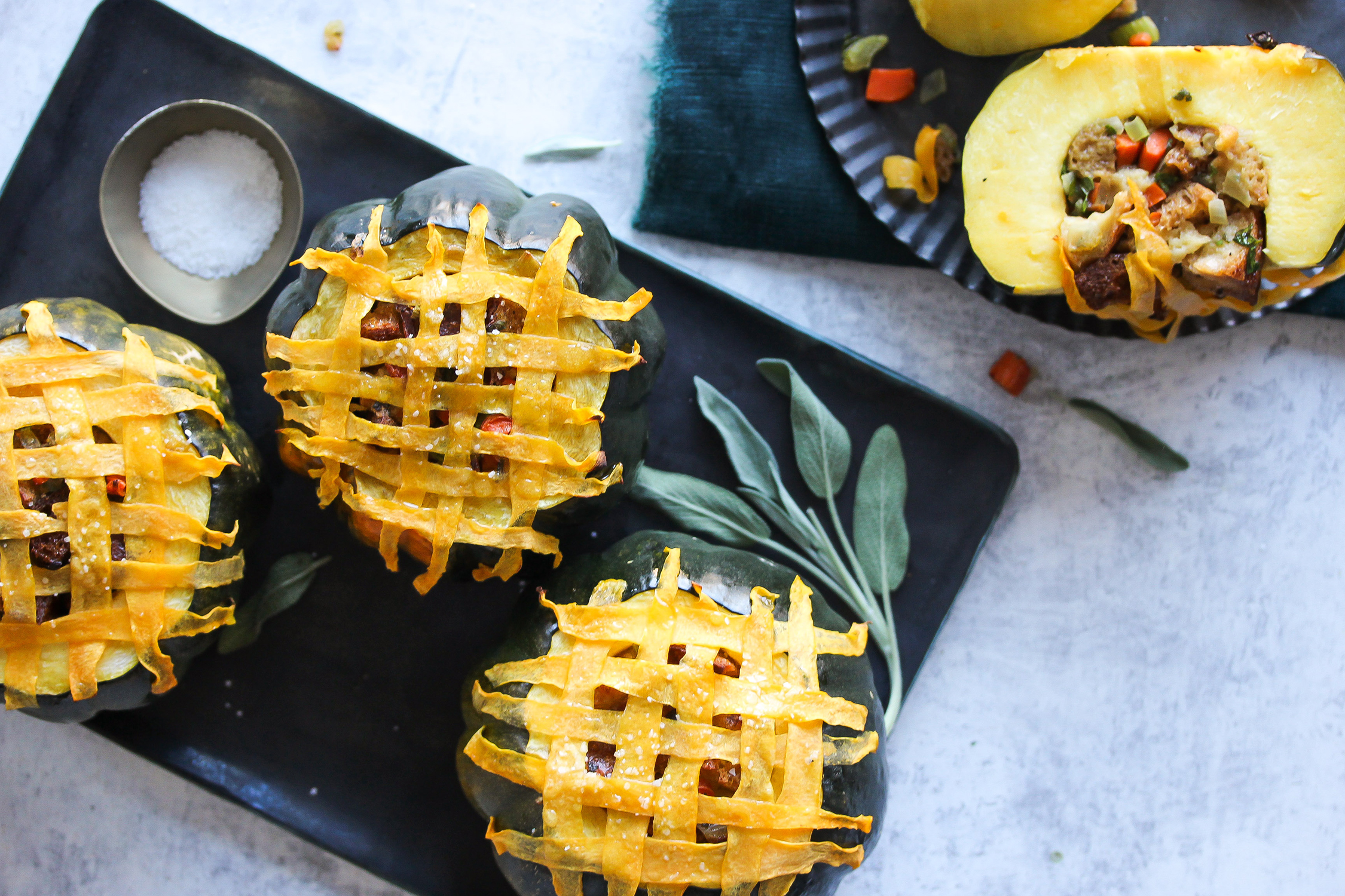 Stuffed Carnival Squash with Butternut Lattice