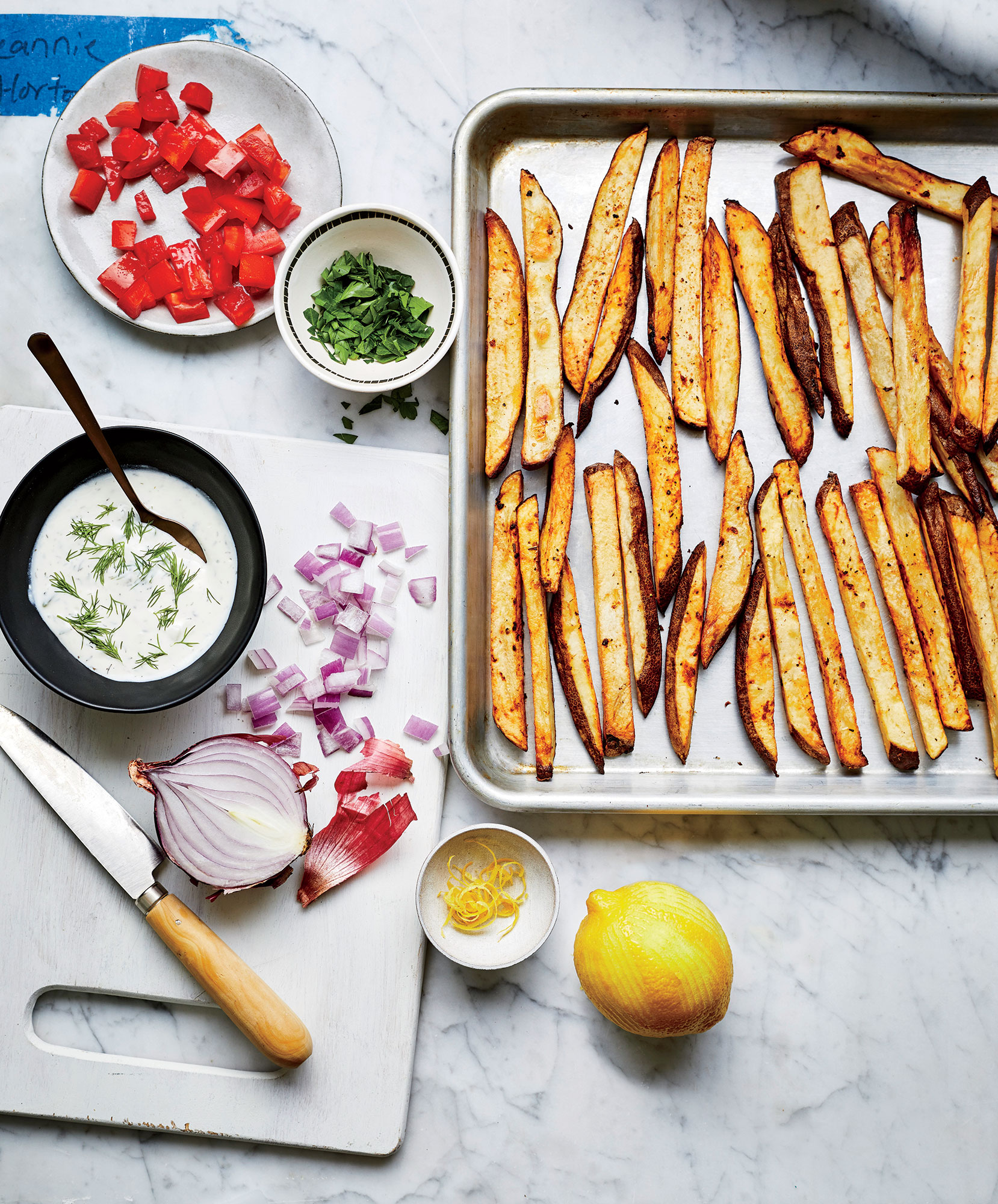 Greek-Inspired Fries Prep