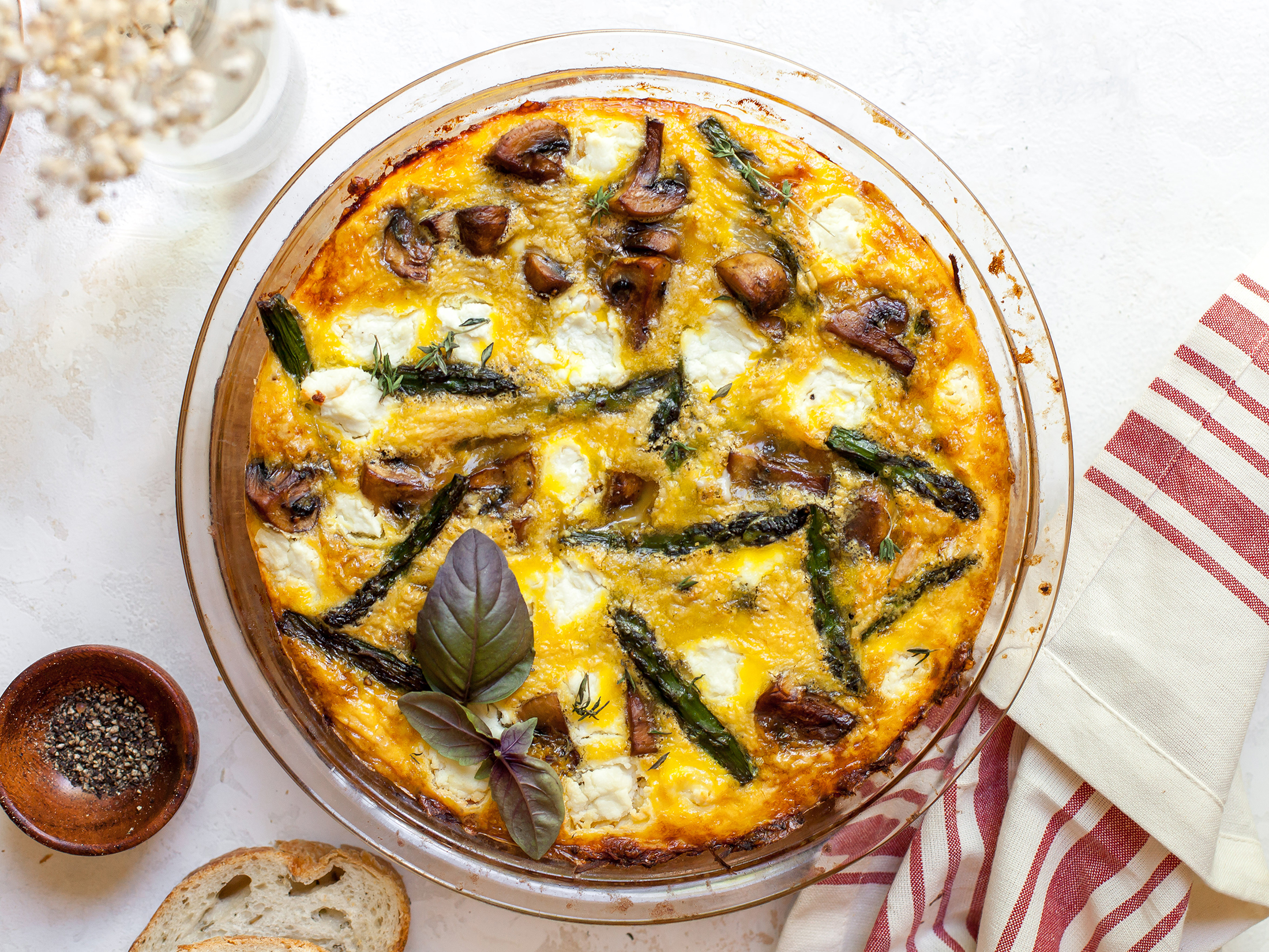 Asparagus, Mushrooms, and Goat Cheese Quiche With Spaghetti Squash Crust