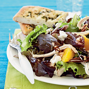 Roast Chicken Salad with Peaches, Goat Cheese, and Pecans