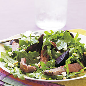 Roast Beef, Beet, and Arugula Salad with Orange Vinaigrette