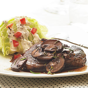Beef Tenderloin Steaks with Red Wine-Mushroom Sauce