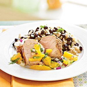 Roasted Pork Tenderloin with Orange and Red Onion Salsa