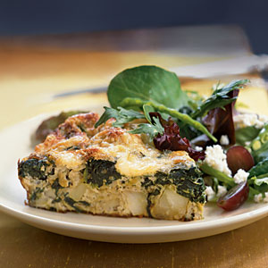 Frittata with Spinach, Potatoes, and Leeks Vegetarian Egg Recipe