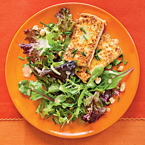 Pan-Crisped Tofu with Greens and Peanut Dressing Vegetarian Recipe
