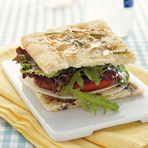 Focaccia Sandwich with Spring Greens Vegetarian Recipe