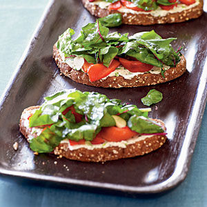 Tartines with Cheese, Peppers, and Chard Vegetarian Recipe