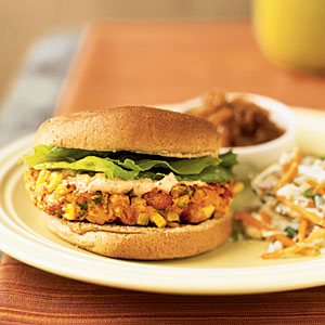Southwest Pinto Bean Burgers with Chipotle Mayonnaise Vegetarian Recipe