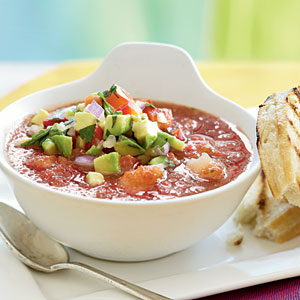 Gazpacho with Shrimp and  Avocado Relish