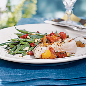 Grilled Halibut with Three-Pepper Relish