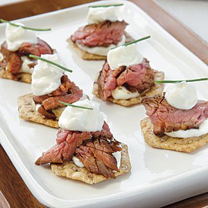 Beef Teriyaki Crisps with Wasabi Mayonnaise