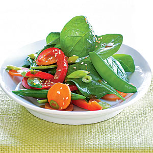 Asian Snap Pea Salad with Sesame-Orange Dressing