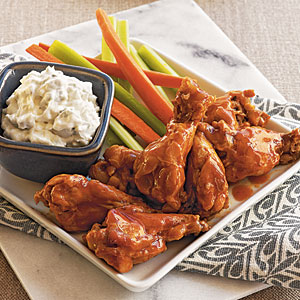 Buffalo-Style Drummettes with Blue Cheese Dip Recipe