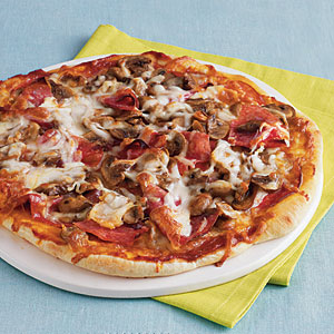Salami and Mushroom Pizza