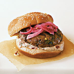 Spicy Poblano Burgers with Pickled Red Onions and Cream