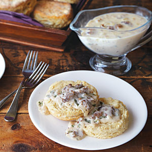 Alabama Cat-Head Biscuits with Sausage Gravy