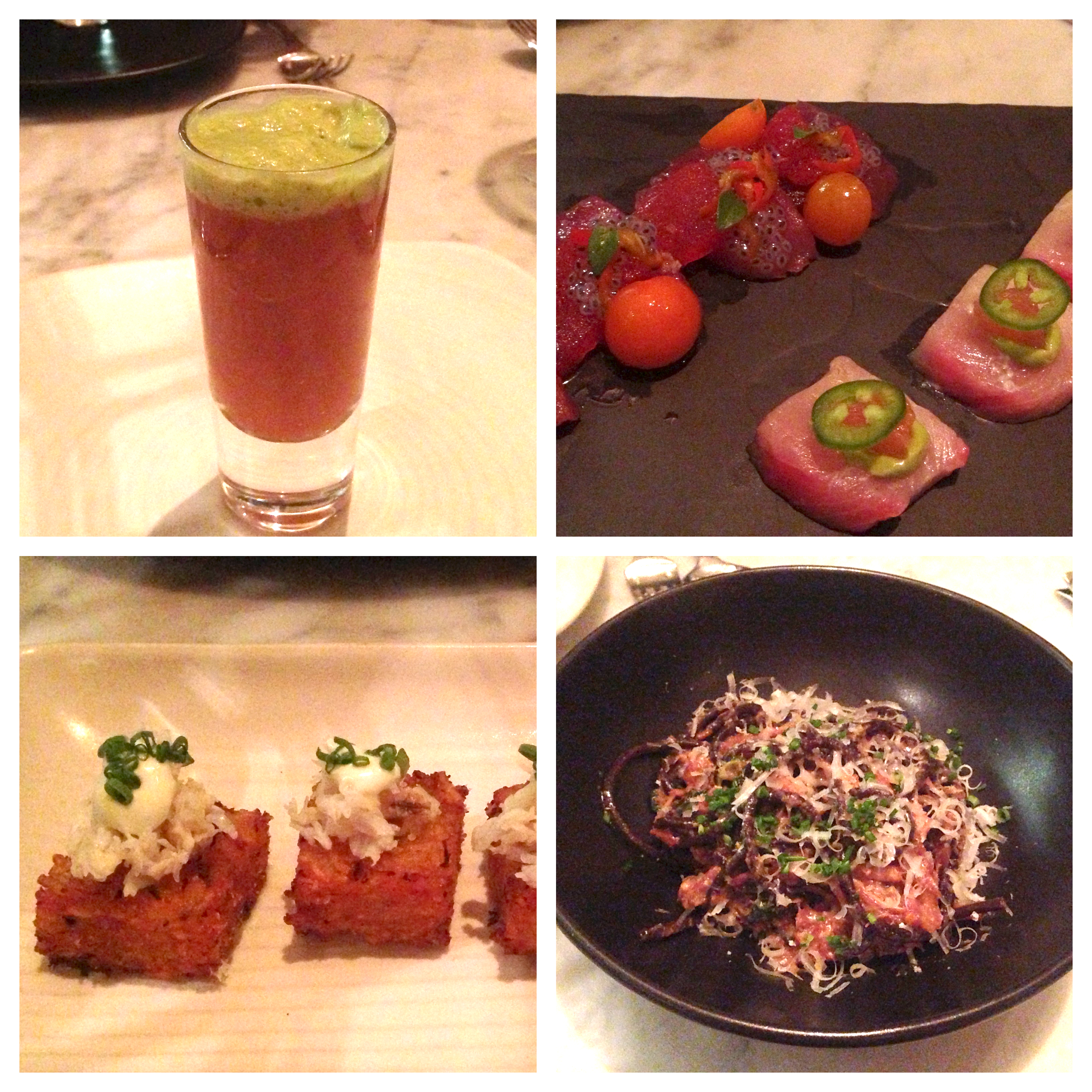 Gazpacho, crudo, crab  tater tots  and pasta with pork at Chalkboard in Healdsburg, CA.