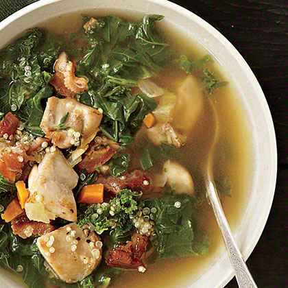 Chicken, Kale, and Quinoa Soup: We had a feeling this recipe would be a winner. We took four of the top recipe search categories from our website--chicken, kale, quinoa, and soup—and combined them into one tasty dish. It's quickly become one of our top-pinned recipes.