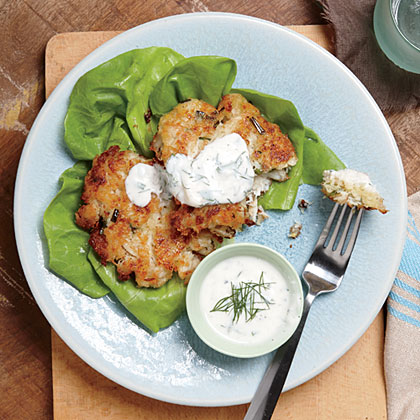 1. Crab Cakes with Buttermilk Ranch Dressing: One of our two cover stars, crab cakes are a perennial spring favorite. This recipe yields a perfectly crisp outside with a tender, succulent crab-filled center. A homemade ranch-dill dipping sauce makes the perfect complement. Find this recipe, along with four more fast weeknight meals, by downloading a free sample of the tablet edition.