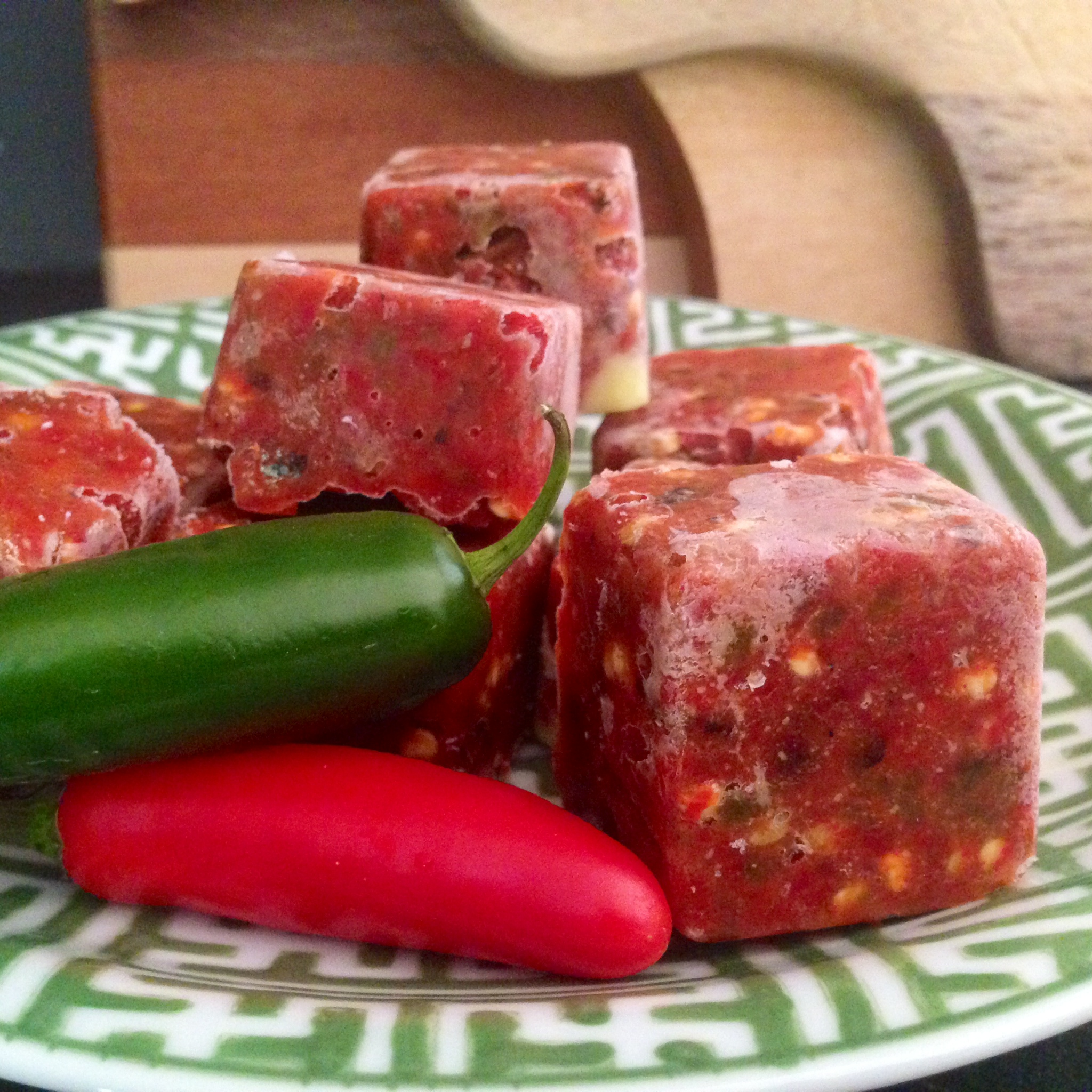 These 2-tablespoon-size cubes of roasted jalapeños make quick work of salsas, soup starters, and spicy chili later.