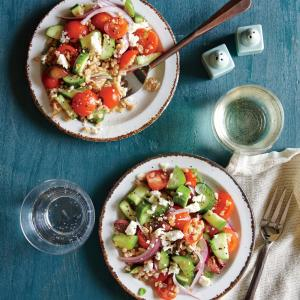 Greek Tomato and Cucumber Salad with Farro