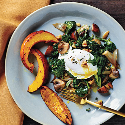 Poached Eggs with Spinach and Walnuts and Roasted Acorn Squash