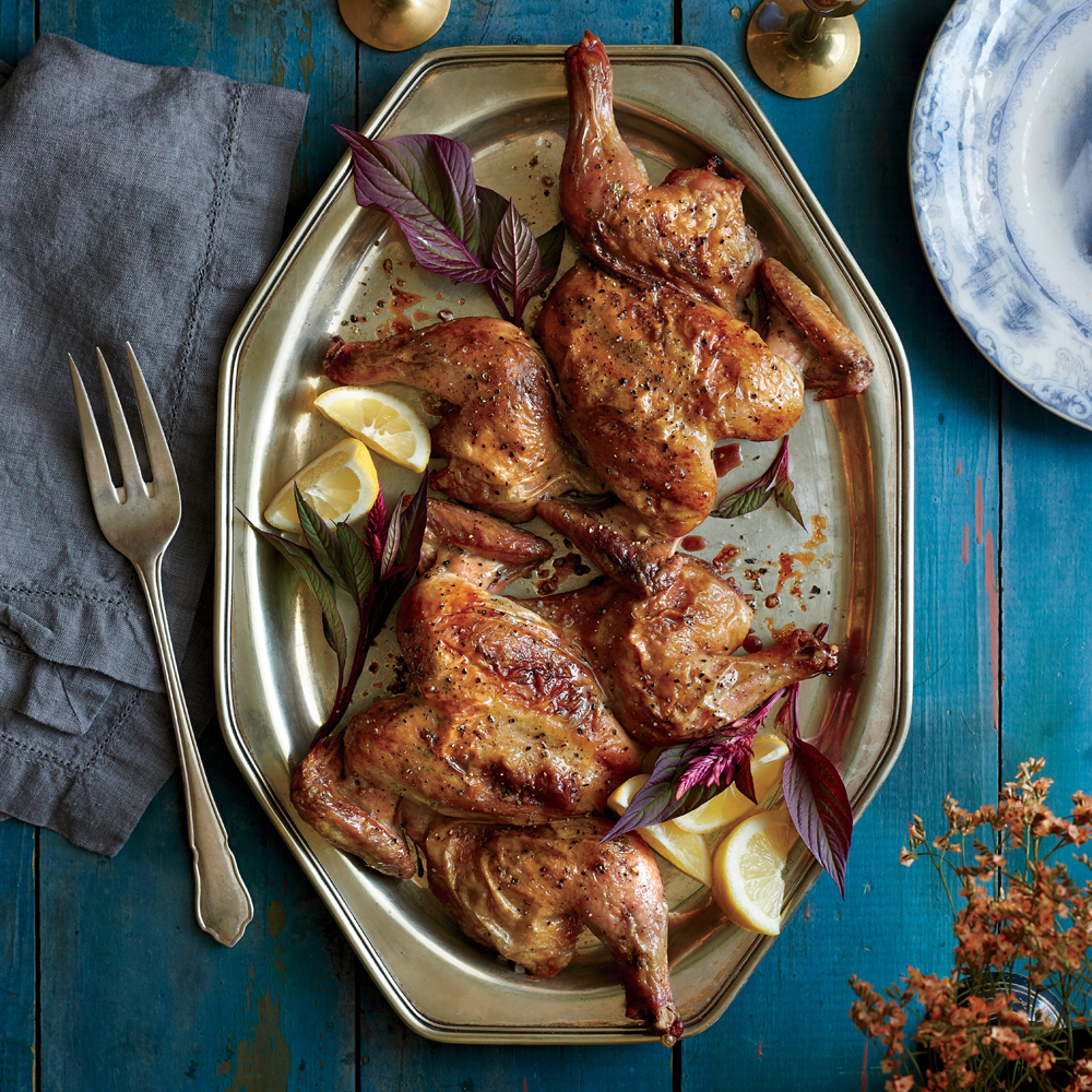 Try the spatchcocking technique with our Sage and Garlic-Rubbed Cornish Hens