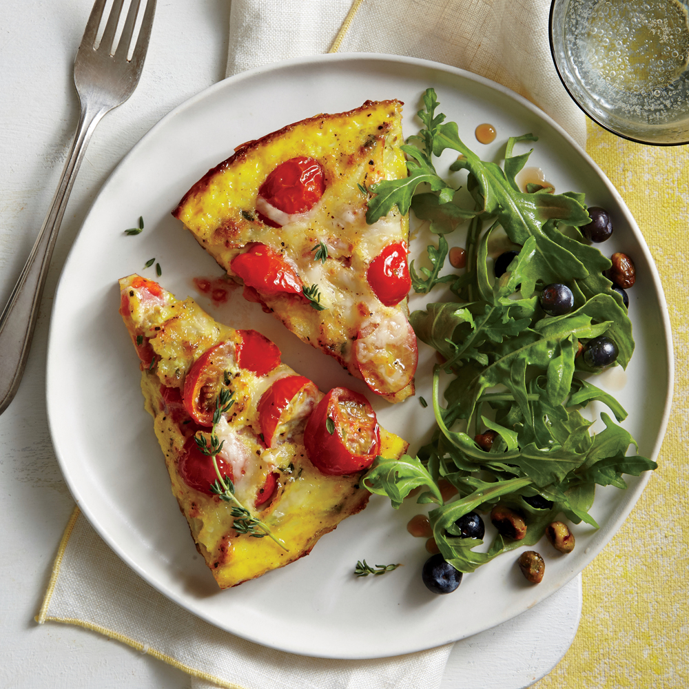 Tomato-Asiago Frittata and Arugula-Blueberry Salad