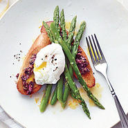 Asparagus Salad with Poached Eggs and Tapenade Toasts
