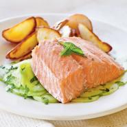 oil-poached salmon with fresh cucumber salad