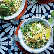 Kritharoto (Orzo Pasta) with Peas, Lemon, and Feta