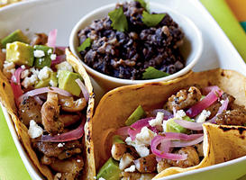 Chicken Carne Asada Tacos with Pickled Onions Recipe