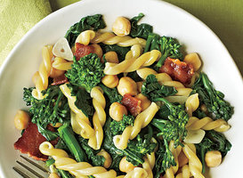 Gemelli with Broccoli Rabe, Bacon, and Chickpeas Recipe