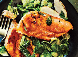 Maple-Glazed Chicken with Apple Brussels-Sprout Slaw Recipes