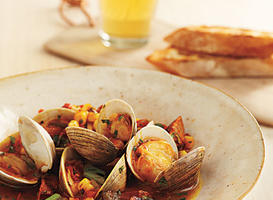 Best Grill-Braised Clams and Chorizo in Tomato-Saffron Broth Recipe